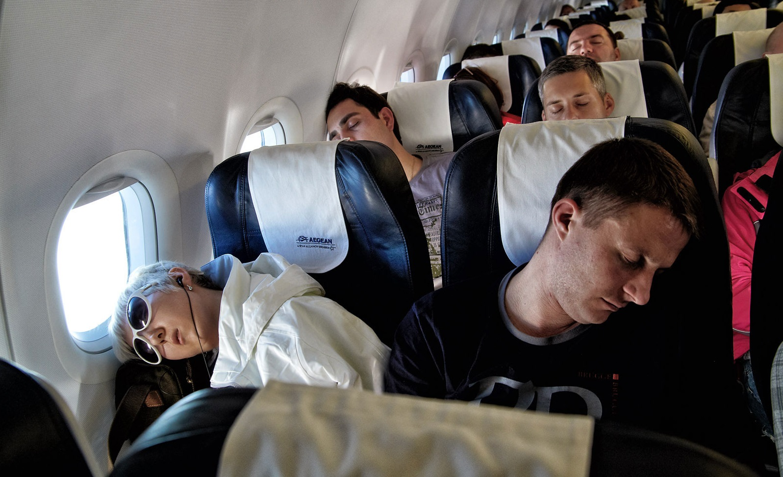 teenager on a plane